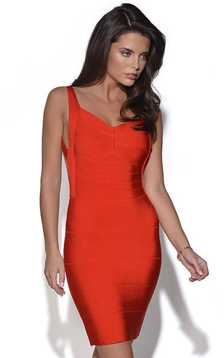 Red Sleeveless Backless Bandage Dress