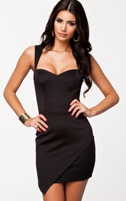 F2280-2 Square Black Dress