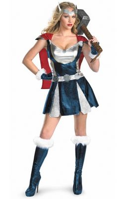 F66128 Adult Sassy Thor Costume Deluxe