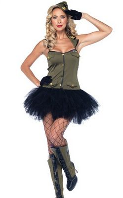 F66133 USO Army Girl Fancy Dress Costume
