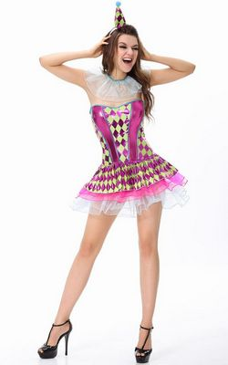 F1486  Sassy Party Clown Costume