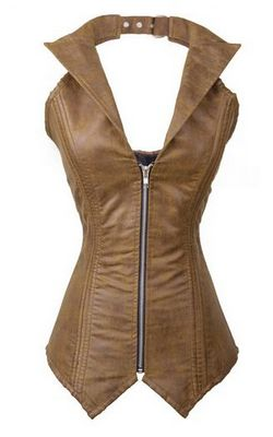 F9067-1 Womens Faux Leather Steampunk Corset Bustier Zip Top Costume Rock Biker