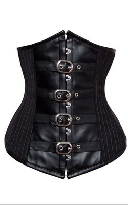 F9068 SEXY BLACK WOMENS STEAMPUNK STRIPED WAIST CINCHER