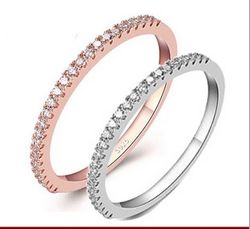 SS11047-1 S925 sterling silver rose gold ring