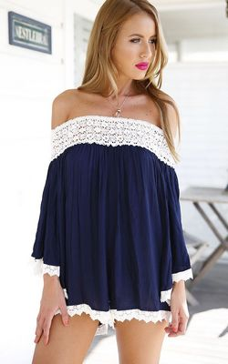 F2467-2 Navy Off The Shoulder With Lace Hollow Jumpsuit