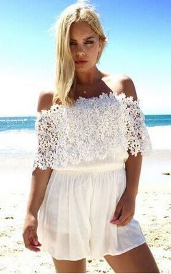 F2471 WHITE LACE SHOULDER CUT-OUT SEXY JUMPER DRESS