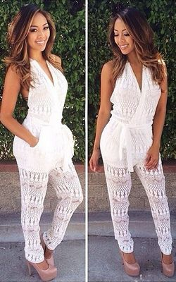 F2474 2016 Crochet Halter Backless Jumpsuit Romper Playsuit