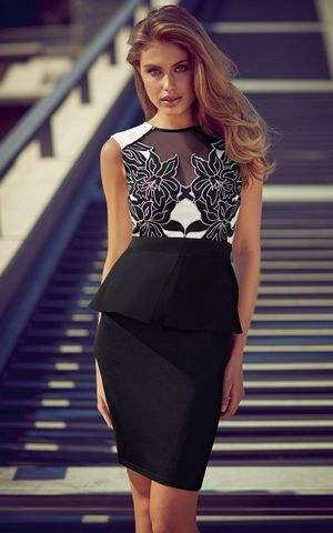 W25017 high neck laser cut peplum dress