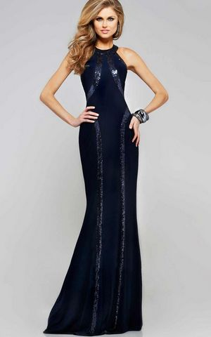 W25023 Sequin Trim Blue Jersey Gown
