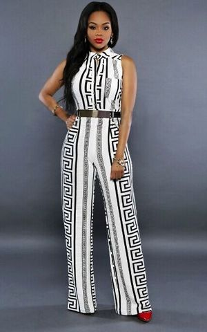 w25007-2 BLACK AND WHITE AZTEC TRIBAL PRINT SLEEVELESS PARTY WIDE LEG JUMPSUIT