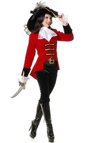 F1693 high quality women pirate costume,it comes with hat,coat,neckwear,panty