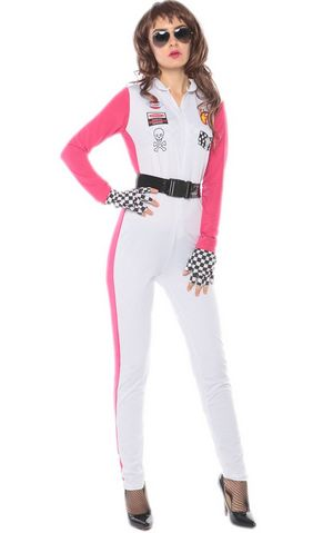 F1724 white race girls costume,accessory:BELT,handwear