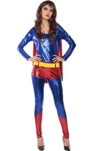F1734 cosplay supergirl  catsuit costume,it comes with bodysuit with cape