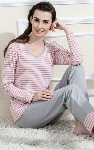 SL80004-1  lovely purified cotton sweet long sleeved pajamas set for women