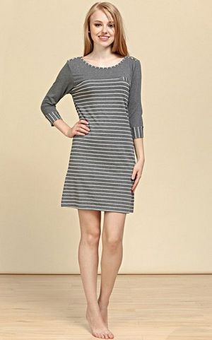 SL80005-2 long sleeve knitted striped womens nightgown