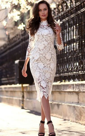 F2487 White Three Quarter Length Sleeve Lace Sheath Dress