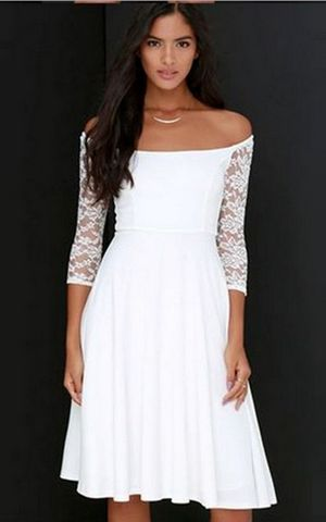 F2490 Sexy White Pure Color Design Off the shoulder Casual Lace Long Dress