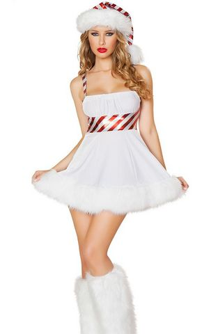 FC141 Sexy white Candy cane furry Christmas dress costume
