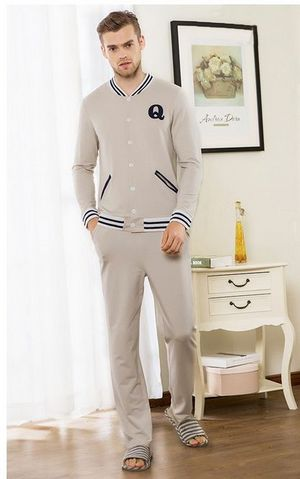 SL80014-2Mens Long Sleeve Garment for Outer Wear Sports Pure Cotton Pajamas Set
