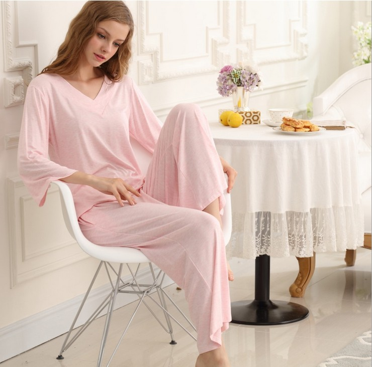 SL80023-2 natural cool autumn pajamas V neck lace two-piece outfit for women