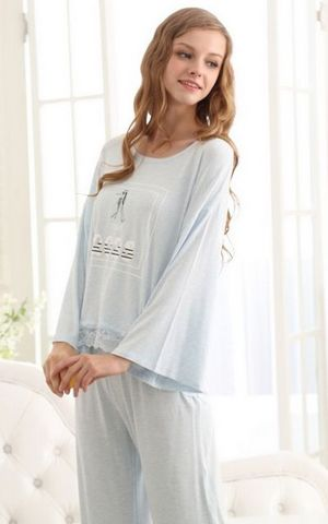 SL80035-1 autumn womens lovely pajamas fashion long-sleeved two-piece suit