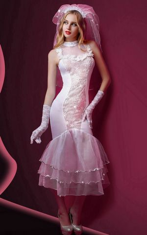 F1747 White Beauty Women Mesh Covers Sexy Bride Costume Wedding Dress