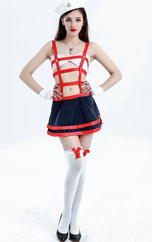 F1754  Red Sailor Costume Women Erotic Sailor Costume Sailor Halloween Cosplay