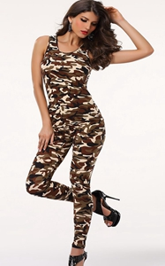 F1761 Army Catsuit Jumpsuit clubwear
