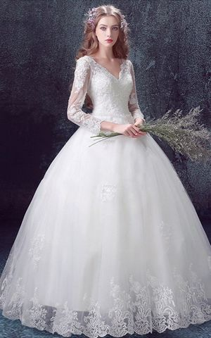 WD3049 deep V neck  wedding dress