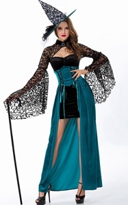 F1764 Teal Storybook Vintage Witch Costume