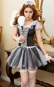 F1766 gently french maid dress cosplay sexy underwear halloween costume dress
