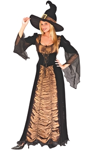F1771 Spooky Witch Costume Womens Witches Halloween Horror Fancy Dress Outfit