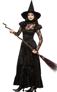 F1780  Halloween Costume for Adults Black Witch Halloween Costume Fancy Dress