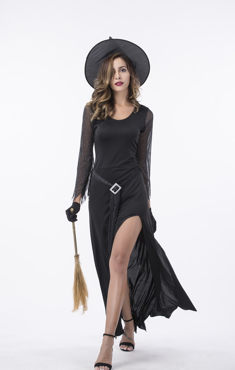 F1796 Womens Black Witch Halloween Costume ...  sc 1 st  flower-kit sexy lingerie & F1796 Womens Black Witch Halloween Costume-Devil u0026 witch-flower-kit ...