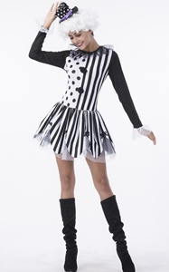 F1797 Party Clown Adult Costume Fashion Cosplay Halloween Dress