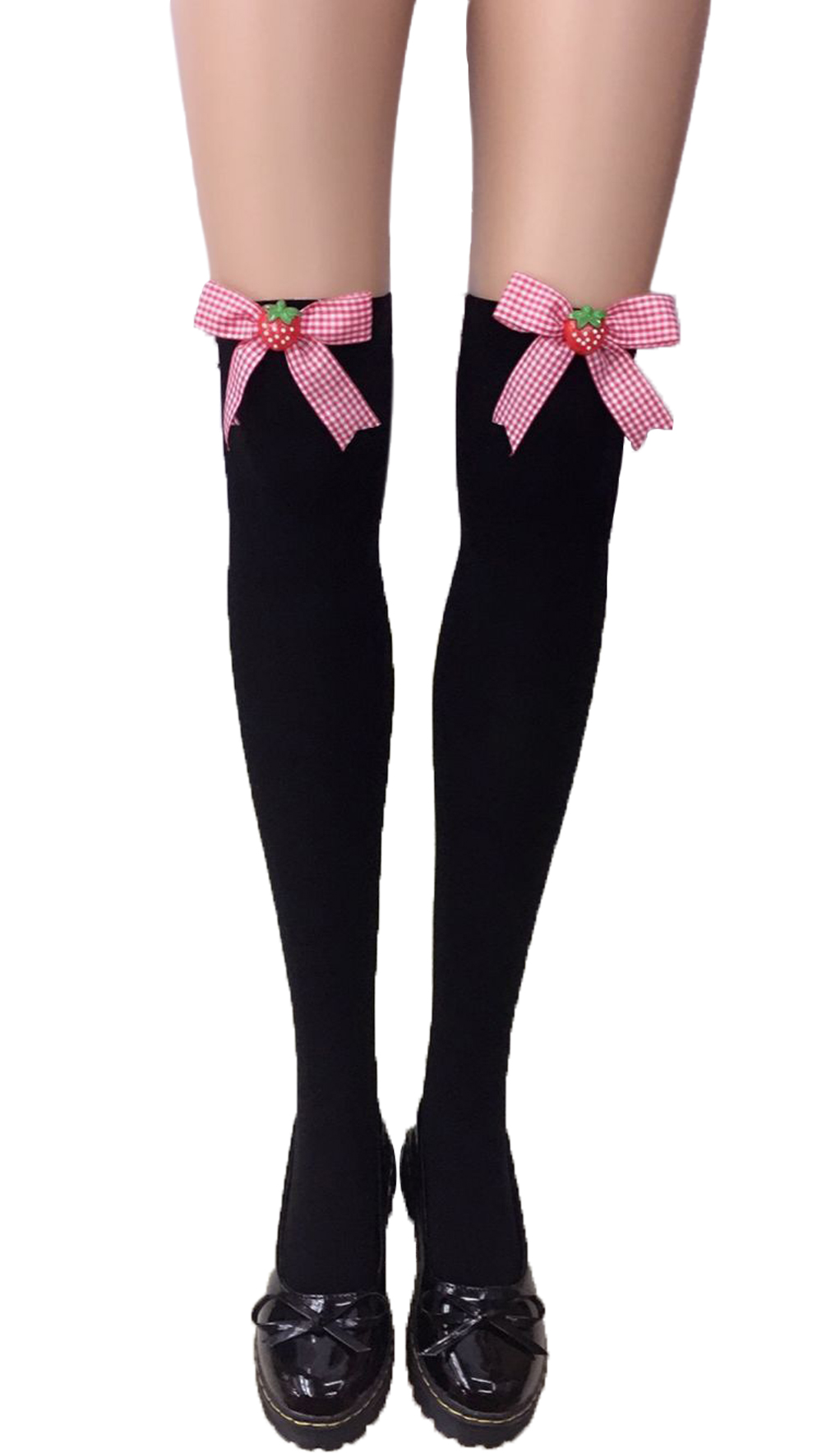 F8195-4 Thigh Stocking with Satin Bows Opaque Over The Knee Halloween Socks