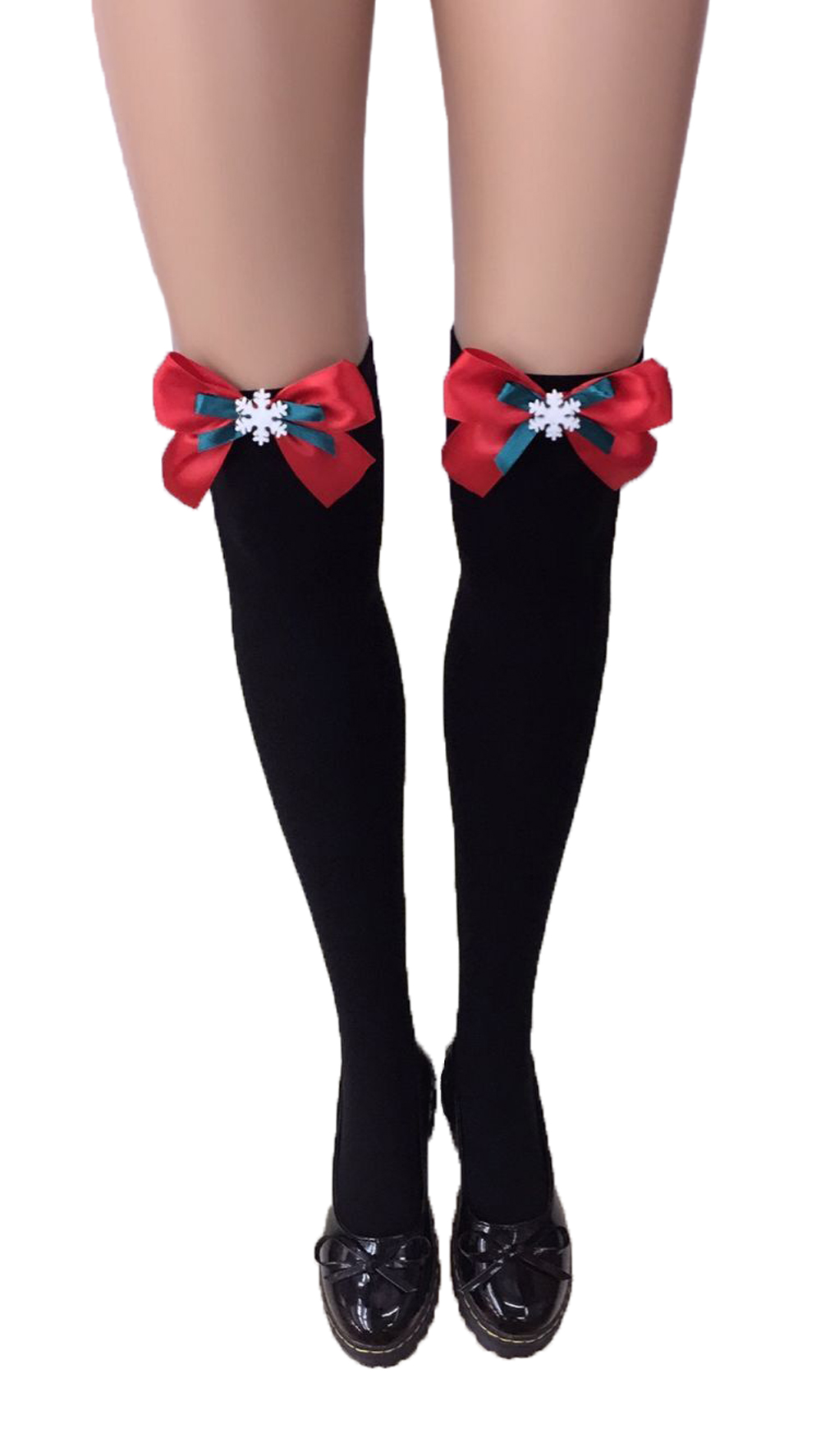 F8195-6  Thigh Stocking with Satin Bows Opaque Over The Knee Halloween Socks