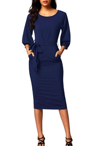 BY61691-5 Blue Puff Sleeve Belt Chiffon Pencil Dress