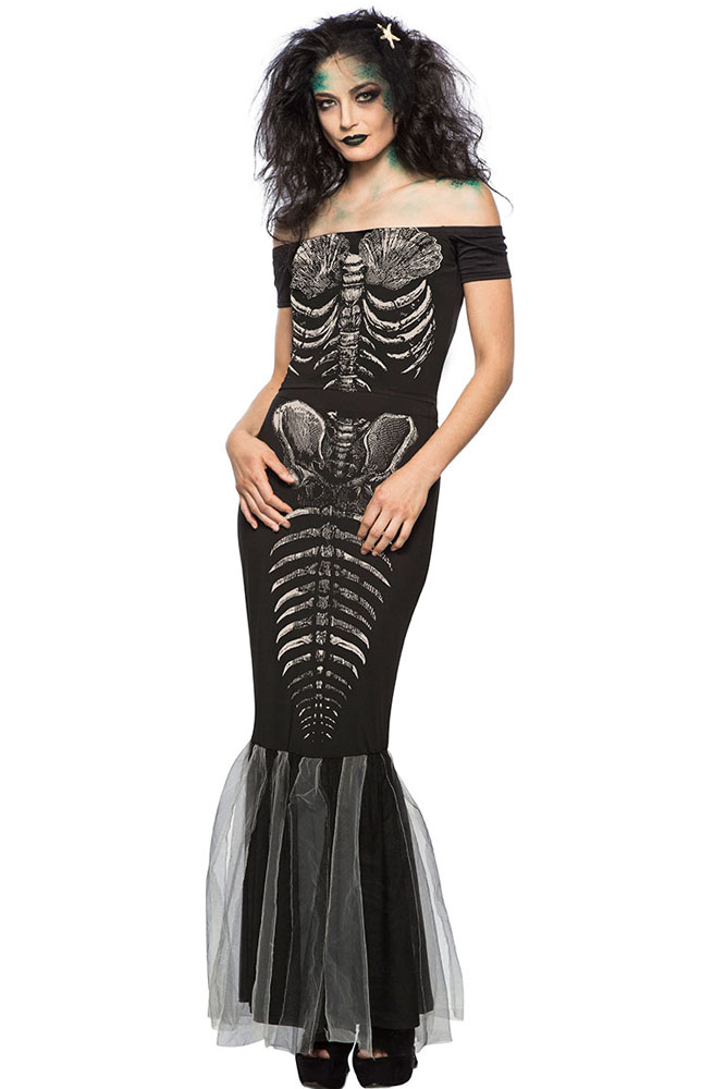 BY89038-2 Halloween Party Skeleton Mermaid Costume