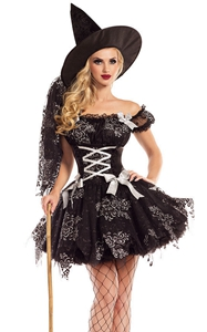 F1813 Adult Witch Costume Halloween Witch Dress Costumes For Women