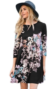 BY220099-102 Dark Floral Long Sleeve A-Line Tunic Dress