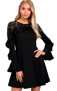 BY220164-2 Black Lace Long Sleeve Skater Dress
