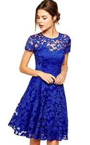 SZ60002-1 Fashion Summer Party Mini Dress Short Sleeve Blue Black Lace Dresses
