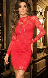 SZ60007 Red Plain Lace Hollow-out See-through Backless Club Party Mini Dress