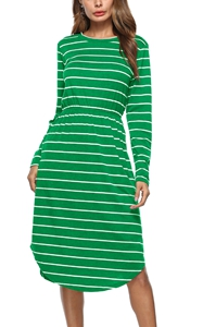 SZ60013-3 Casual Round Neck Long Sleeves Striped Pocket Midi Dress