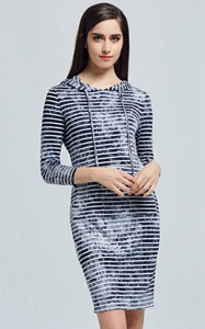SZ60025-3 Spring Summer Fashion Women Striped Tie Hooded Tight Dresses