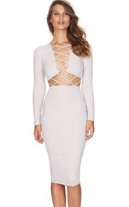 SZ60027-1 Womens Sexy Long Sleeve Stretch Bodycon Party Bandage Dresses