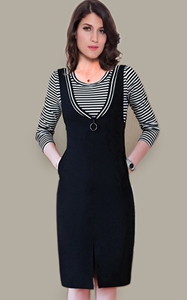 SZ60042 Summer new Korean women slimming stripe fashion long sleeve casual dress