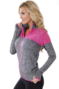 BY26019-11 Gray Atheletic Running Yoga Jacket with Mesh Accent