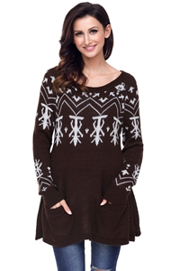 BY27720-17 Brown A-line Casual Fit Christmas Fashion Sweater